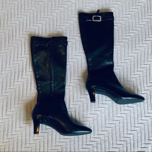 Cole Haan black leather heeled boots, size 8.5